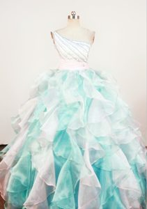 One Shoulder Multi-color Girls Pageant Dress Beading and Ruffles