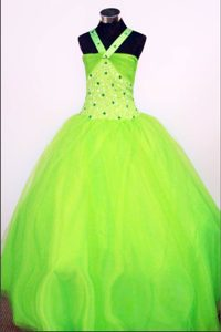 Ball Gown Halter Spring Green Beading Pageant Dress for Little Girls