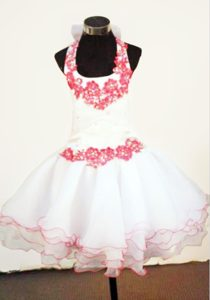 White Halter Mini-length Little Girl Pageant Dresses With Red Appliques