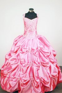 Straps Rose Pink Taffeta Beading and Pick-ups Little Girl Pageant Dress