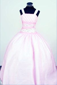 Ball Gown Straps Baby Pink Taffeta Glitz Pageant Gowns With Beading
