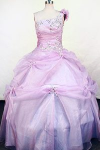 Lilac One Shoulder Hand Made Flowers Girls Pageant Dresses