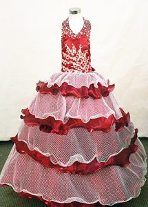 Organza and Net Halter Beaded Little Girl Pageant Dresses