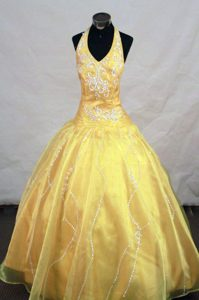 2013 Appliques Halter Little Girl Pageant Dress in Yellow