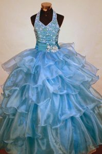 Light Blue Ruffles Beaded Halter Little Girl Pageant Dress