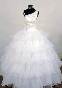Beaded Asymmetrical White Ruffled Pageant Dress for Girls