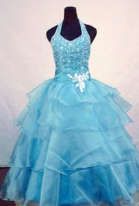 Halter Light Blue Layers Little Girl Pageant Dress Beaded