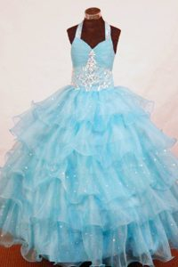 Organza Layers Aqua Blue Applique Kid Pageant Dress Beaded