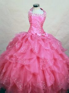 Ruffles Halter Top Hot Pink Girls Pageant Dress with Beads