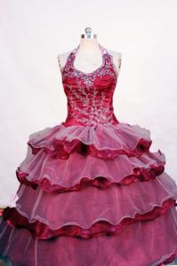 Beading Fuchsia Halter Perfect Angel Pageant Gowns Ruffled