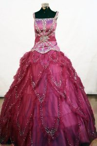 Square Fuchsia Ruffles Little Girl Pageant Dresses Beaded
