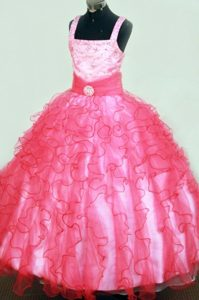 Sussex Square Ruffles Beaded Hot Pink Little Pageant Dress