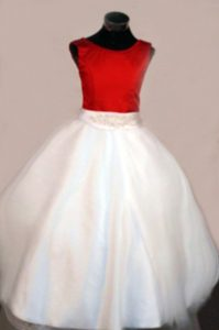 Scoop Red and White A-line Beaded Girls Pageant Dresses