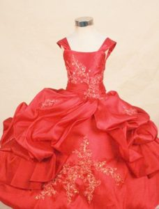 Wide Straps Red Appliques Beaded Little Girl Pageant Dress