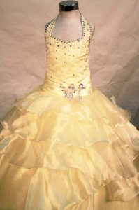Beaded Yellow Halter Pageant Dress for Girls with Ruffles