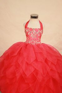 Red Little Girl Pageant Dress with Beading and Halter Neck