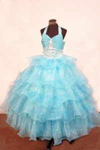 Ruffled Halter Aqua Beaded Girls Pageant Dresses in Kent