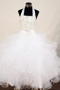 2014 White Beaded Halter Girls Pageant Dress with Ruffles