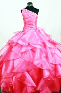 Hot Pink One Shoulder Beaded Ruffles Girls Pageant Dresses