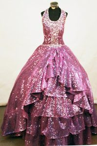 Cheshire A-line Halter Fuchsia Bead Pageant Gowns Sequined
