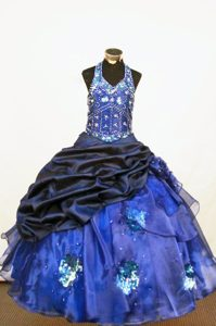 Beaded Halter Organza Blue Little Girl Pageant Dress 2013