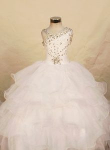 White Organza One Shoulder Beaded Girls Pageant Dresses