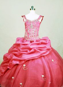 Square Beaded Pick-ups Hot Pink Little Girl Pageant Dress