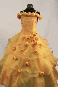 Hand Made Flowers Gold Little Pageant Dress with Straps