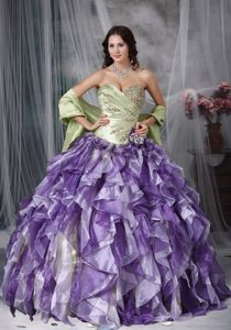 Spring Green and Purple Dress for Quince with Sweetheart Neck and Ruffles