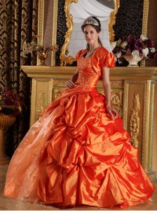 Classy Orange Taffeta Quinceanera Gowns with Pick-ups and Capelet