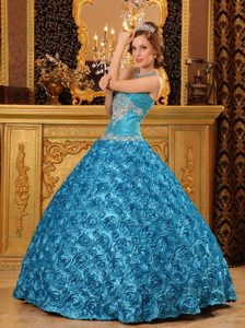 Teal Sweetheart Dress for Quinceaneras with Rolling Flowers and Appliques