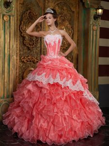 Impressive Watermelon Organza Dresses of 15 with Ruffles and Appliques