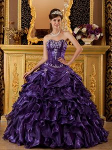 Purple Sweetheart Sweet 16 Dresses with Ruffles and Appliques