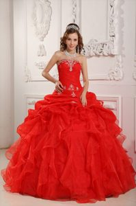 Elegant Red Organza Beading Dress for Quinceaneras with Ruffles