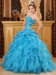 Gorgeous Teal Blue Organza Beading Dresses Quinceanera with Ruffles