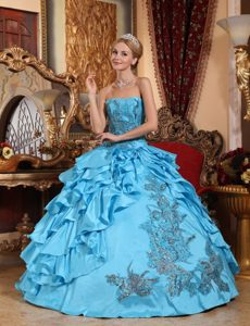 Aqua Blue Taffeta Dresses for Quinceaneras with Appliques in North Yorkshire