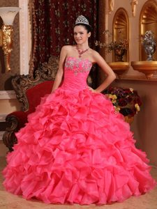 Hot Pink Strapless Organza Dresses for Quinceaneras with Ruffles and Appliques