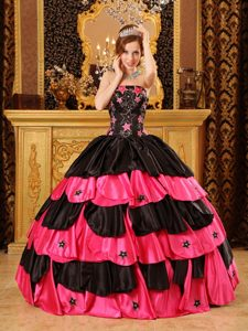 Groovy Black and Red Taffeta Sweet 15 Dresses with Beads and Patterns