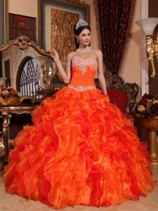 Orange Beading Organza Sweet 15 Dresses with Appliques and Ruffles