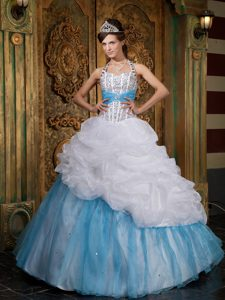 White and Blue Quinceanera Dress with Halter Top Neckline and Beading