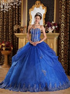 Royal Blue Bodice Organza Dress for Sweet 15 Dresses with Appliques