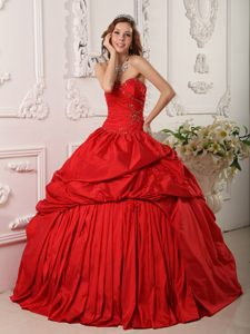 Smart Red Taffeta Beading Dress for Sweet 15 Dresses with Ruffles
