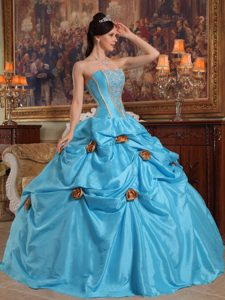 Chic Teal Strapless Taffeta Beading Dresses for Quinceaneras with 3D Flowers