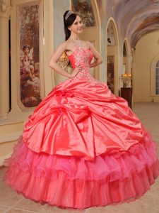 Modernistic Coral Red One Shoulder Pick Ups Sweet 16 Dresses with Appliques