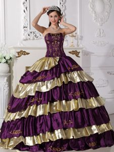 High-Class Purple and Gold Taffeta Embroidery Sweet 16 Dresses on Sale
