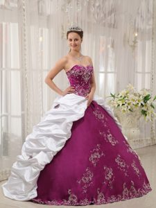 Purple and White Satin and Taffeta Quince Dresses with Embroidery