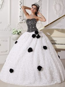 White Sweetheart Sequins Quinceanera Dress with Hand Made Flowers