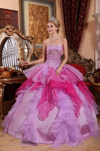Affordable Colorful Organza Beading Dresses for a Quince with Appliques