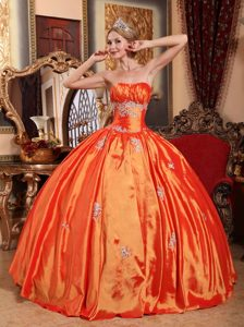 Orange Strapless Red Taffeta Sweet 15 Dresses with Appliques on Sale