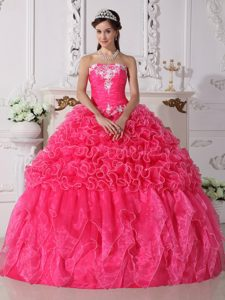 Hot Pink Strapless Dresses for a Quince with Ruffles and Appliques